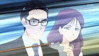 STPC16 Fuyuki and Mitsuka watch as Madoka's arrow flies towards its target