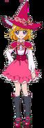 Perfil de Mirai Asahina con su traje de bruja (TV Asahi)