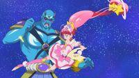 STPC31 Star kicks the Princess Star Color Pen out of Garuouga's belt