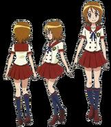 Perfiles de Yuko con su uniforme escolar de verano