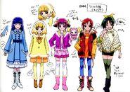Boceto de Miyuki, Akane, Yayoi, Nao, Reika en ropa de inverno