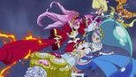 Scarlet and Mermaid defend Twinkle and Flora