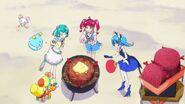 Hikaru y las demás poniendo la leña
