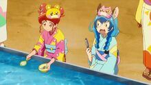 STPC25 Yuni is surprised that Hikaru is easily catching the fish