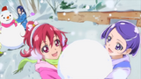 Mana and Makoto playing snow