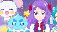 STPC21 Fuwa, Prunce and Madoka watch Blue Cat and Hikaru happily