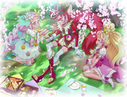 Flora, felice y chocolat disfrutando el hanami