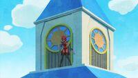 STPC39 Tenjo hides behind the clock tower