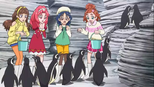 The girls feeding penguins