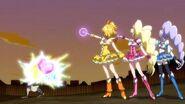 Las Pretty Cure peleando contra el Nakisakebe