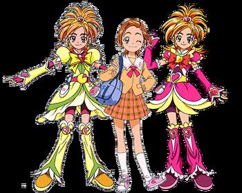 Saki y Cure Bloom y Bright
