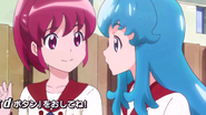 Megumi preguntandole a Hime si quiere ir a su casa