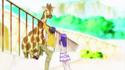 Yuya climbing to see the giraffe