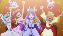 STPC15 Lala, Hikaru and Elena celebrate on their win as Madoka stands there stunned