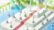 Las chicas llegan a un salon lleno estatuas de Pretty Cure anteriores