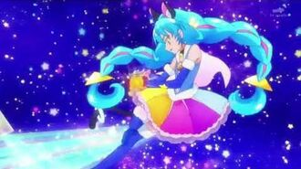 Star Twinkle Precure Cure Cosmo's Rainbow Splash attack