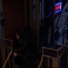 Spencer crying outside Toby's loft
