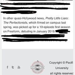Pacific University sending emails out to its students about the show