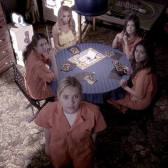 Spencer, Hanna, Aria, Emily, and Mona in the Dollhouse