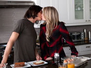 Caleb and hanna kiss over breakfast