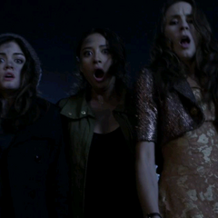 The new Liars:(From left to right) Hanna, Aria, Emily, Spencer and Mona