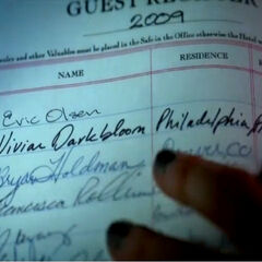 Vivian's signature at the Lost Woods Resort