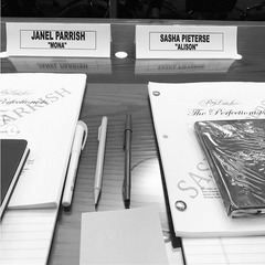 Janel and Sasha at The Perfectionists readthrough