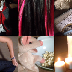 Spencer, Aria, Aria's Shoe, Ali's LEFT Hand with the bracelet, Pigtunia and Candles