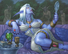 640x512 18781 The Vainglorious WOW card 2d fantasy dark elf girl world of warcraft picture image digital art