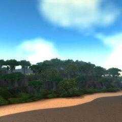 Skály jsou dalším aspektem typickým pro Nimer. Je také vidět přístav Hordy.