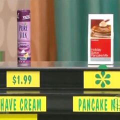 Jimmie says the Crate & Barrel pancake mix is more expensive than the Pure Silk shave cream.