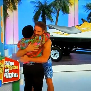 She didn't win the WaveRunner, but she does get a hug from James.