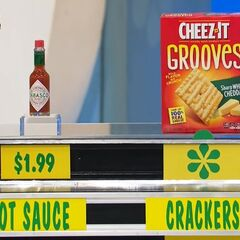 She says the Cheez-It crackers are more expensive than the Tabasco hot sauce.