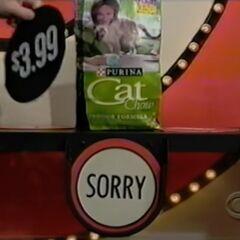 Bad news, the hidden bullseye wasn't behind the cat food...