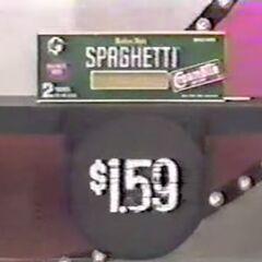 Next, she picks 4 spaghetti noodles which come to...