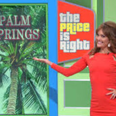 Sports medalist Amy Purdy gestures towards the plasma screen representing this trip to Palm Springs