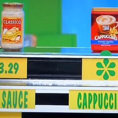 Scott says the Hills Bros cappuccino mix is more expensive than the Classico alfredo pasta sauce.