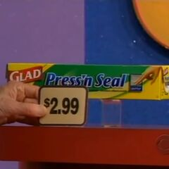 Second, she picks 2 Glad Press 'n Seal wraps which come to...