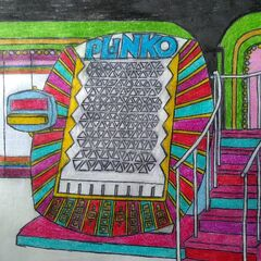 along with a custom drawing of the Plinko board...