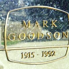 Close-up of the memoriam of the Mark Goodson grave, reminiscent of the Mark Goodson Productions logo.