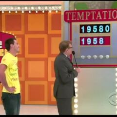 As well as this contestant one away from winning everything during Drew's tenure. Notice the new board, as the contestant's choices are in the same font as the actual digits in the car's price, and are concealed by rotating Pricedown dollar signs. In addition, there are lights at the bottom of the board.