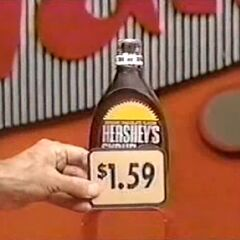 First, she picks 3 Hershey's chocolate syrups which come to...