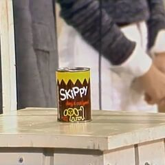 It's a can of Skippy dog food which costs 15 cents.