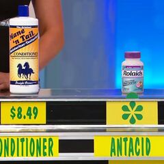 Kevin says the antacid is less expensive than the conditioner.