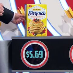 First, she picks 5 Bisquik pancake mixes which come to...