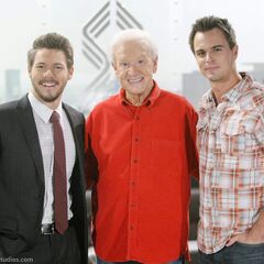 Bob with <i>The Bold and the Beautiful</i> co-stars Scott Clifton (on the left) & Darin Brooks during his appearance on the soap in 2015