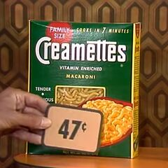 Fourth, she picks 1 Creamettes macaroni for a total of...