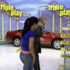 Drew Carey sees a contestant win Triple Play!