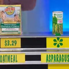 Karol says the Green Giant asparagus spears are less expensive than the organic oatmeal.