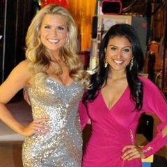 Miss America 2014 Nina Davuluri poses with Rachel Reynolds.